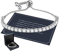 Bracelet for Women,Sterling Silver Tennis Bracelet Crystal Slider Bracelet S925 Women Bracelet Sparkle Diamond Zirconia...