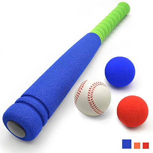 CELEMOON [3 Balls Included] Super Safe Kids Foam Baseball Bat Toys with 3 Balls for Children Age Over 3 yrs Old, Portable Carrying Bag Included, Blue by CELEMOON