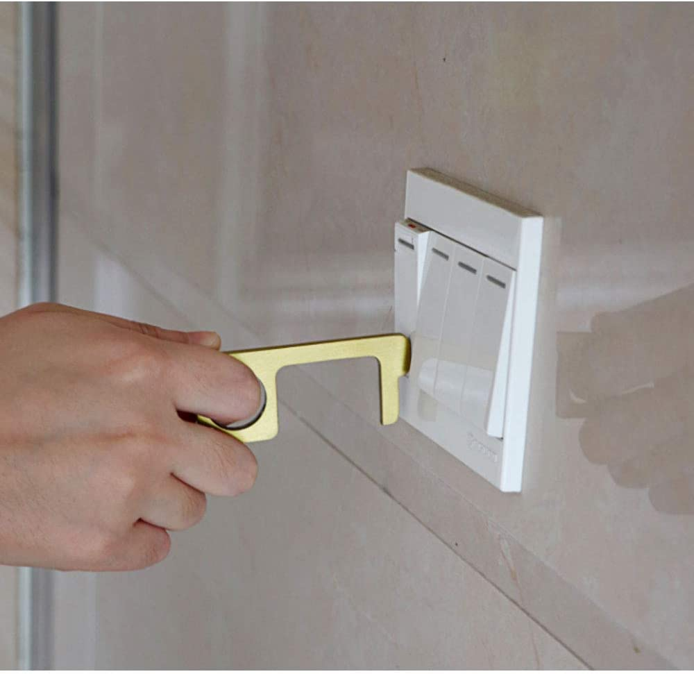 No-Touch Door Opener /& Closer Stylus Keep Hands Clean Hygiene Hand Brass Clean Key Portable Stick for Push The Elevator Button Shape of Key Easy to Carry and Use