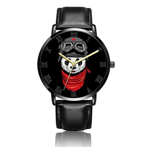 Kusa Fashion Panda Adventurer Wrist Watch, Panda Adventurer Pattern Design PU Leather with Stainless Steel Wrist Watch For Women and Men by Kusa