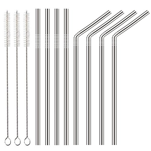 CYLAPEX 8 PCS Reusable Stainless Steel Straws for Yeti Tumbler 20 OZ and 30 OZ or Other More Brand Ramblers Drinking Cups, 10.55inch Extra Long Metal Straws (4 Straight+4 Bent+3 Cleaning Brushes)