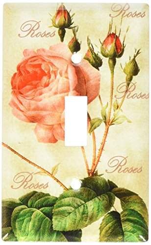 Art Plates - Redoute Roses Switch Plate - Single - Switch Light Rose Covers
