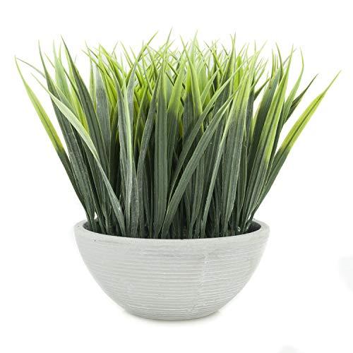 (Velener Extra-Long Artificial Grass in White Pot for Home Decor (Green) )