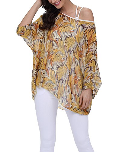 iNewbetter Womens Summer Floral Batwing Sleeve Chiffon Beach Loose Blouse Tunic Tops ()