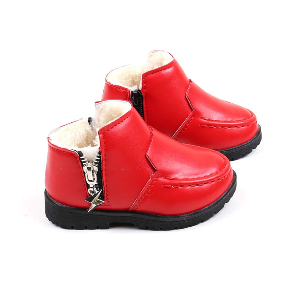 Toddler//Little Kids LIBERVIV Winter Kids Plush Snow Boot Boys Girls Water Resistant Flat Leather Ankle Boots