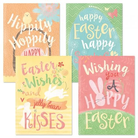 Hippity Hoppity Easter Greeting Cards - Set of 8 (4 designs), Large 5
