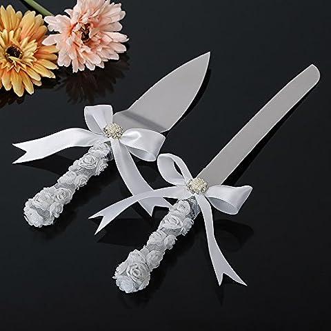 Wedding Cake Knife Set IVORY white ribbon & Swarovski crystal charm ceremony knife set, Cake Servers & Knives - Swarovski Crystal Wedding Cake
