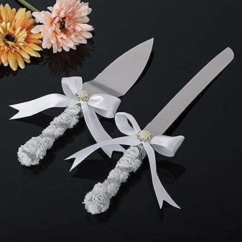Wedding Cake Knife Set IVORY white ribbon & Swarovski crystal charm ceremony knife set, Cake Servers & Knives (Swarovski Wedding Cake)