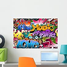 Wallmonkeys Graffiti Seamless Background Hip-hop Art Wall Decal Peel and Stick Graphic WM47351 (24 in W x 16 in H)