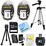 Essential NB6LH Battery Bundle for Canon Powershot SX520, SX710, SX700, S120, SX600, SX530, SX610 Cameras includes 2 NB6LH Batteries, Charger, 32GB High Speed Memory Card, 57-Inch Tripod, Mini Tripod, Hi Speed Card Reader, LCD Screen Protectors and Cloth