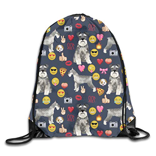 - Love Expression Miniature Schnauzer Dog Patterned Themed Printed Drawstring Book School Shopping Travel Back Bags Draw String Gym Backpack Bulk Girl Boy Women Men