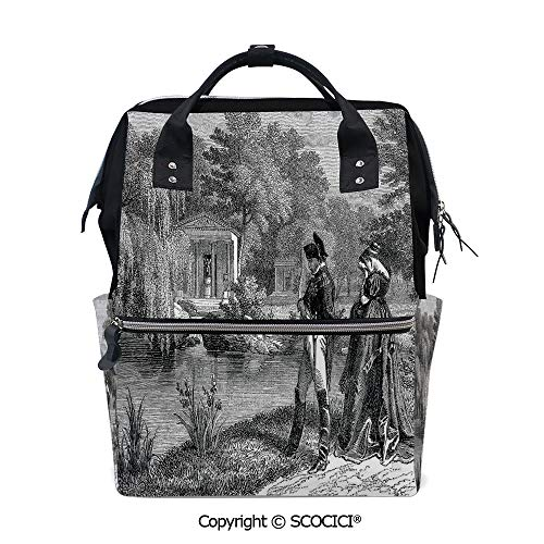 - SCOCICI Travel Backpack Large Diaper Bag,Historical French Revolution Sketch with Napoleon and Woman in Garden Artwork,with Wide Style Top Opening