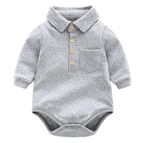 Y·J Back home Baby Boys Onesie Long Sleeve One Piece Polo Shirt Cotton Infant Bodysuit Newborn Solid Clothing Toddler Organic Clothes for Spring and Fall,6-12 Months Grey