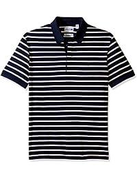 Lacoste Men's Short Sleeve Stripe Mini Pique Slim Fit Polo