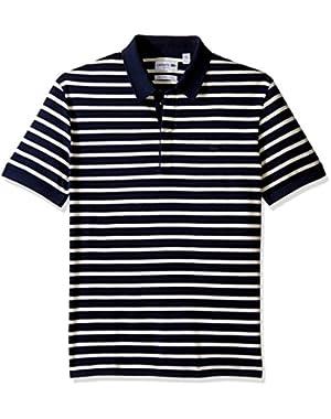 Men's Short Sleeve Stripe Mini Pique Slim Fit Polo