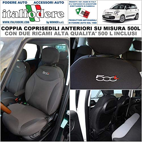 ROSSO-Nero Coprisedili per FIAT 500 COPRISEDILI Auto anteriore