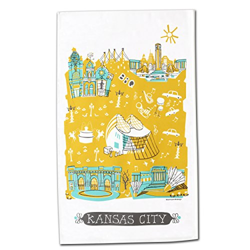 Kansas City Gifts, Kansas City Tea Towel, Featuring 5 of KC's Most Beautiful Landmarks, Serves As A Dish Cleaning Towel or Decorative Towel for the Kitchen, 100% Cotton Twill (State Themed Gifts)