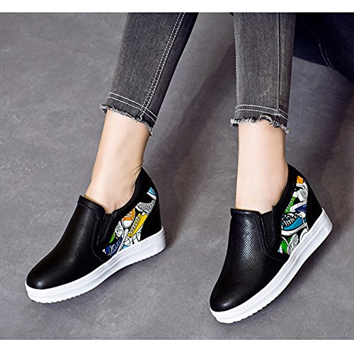 Wear T Perforated For Slip Round Shoes resisting Women JULY On Increased Loafers Black Wedge Breathable Toe BFzqwpB