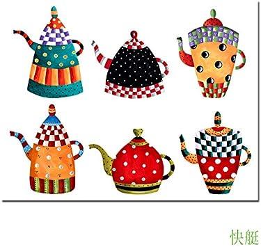FYSKJDG Pintura de la Lona Arte de la Lona Cocina Pintura Decorativa Todo Tipo Caldera Pintura de Dibujos Animados Pintura de la Lona Impresiones Modernas de la Pared Carteles (sin Marco)