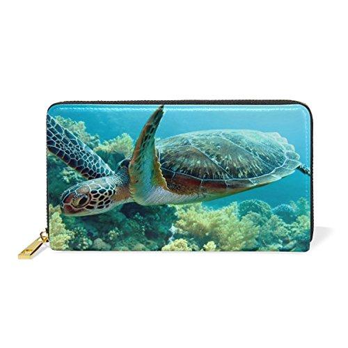 Sea Turtle Purse Genuine Clutch Wallets Zip Long Leather Handbags Womens