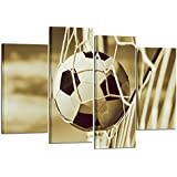 Kreative Arts Vintage 4 Pieces Soccer Sports Canvas Wall Art Prints Stretched and Framed Ready to Hang for Boys Bedroom Décor Kids Room Sports Room Game Room Great Gift