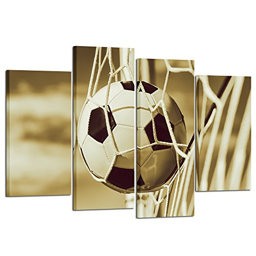 Kreative Arts Vintage 4 Pieces Soccer Sports Canvas Wall Art Prints Stretched and Framed Ready to Hang for Boys Bedroom Décor Kids Room Sports Room Game Room Great Gift (Framed 1' Print Art)