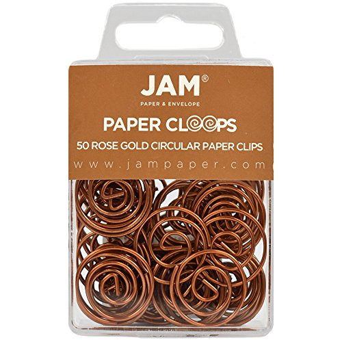 JAM Paper Papercloops - Round Circular Paperclips - Rose Gold - 50/pack