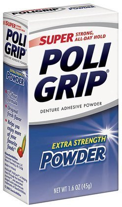- Super Poligrip Denture Adhesive Powder-1.6 oz ( Pack of 4)