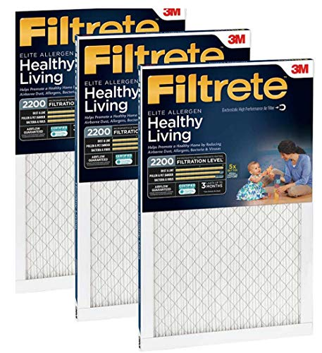 Filtrete MPR 2200 16 x 20 x 1 Healthy Living Elite Allergen Reduction HVAC Air Filter, Delivers Cleaner Air Throughout Your Home, 3-Pack