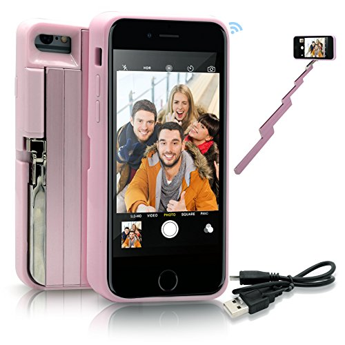 StikBox Selfie Stick iPhone Case, Extendable Monopod W/Built-in Bluetooth Trigger, Lightweight, Rechargeable, Wireless, Pocket Size, 360 Degree Rotation & 20' Extension for iPhone 7/7S/8 (IPE7PINK)