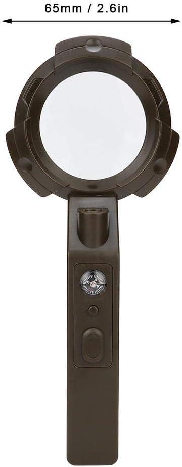 L-E-D Lichtlupe Multifunktions-Lichtschranke f/ür den Au/ßenbereich10-fach Handlupe 6 L-Lupen mit Kompass