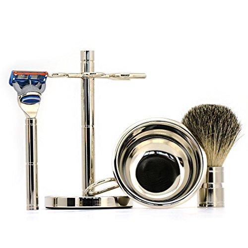Luxury Men Straight ShavingRazor Badger Hair Brush Stand Holder Leather Strop Soap Bowl