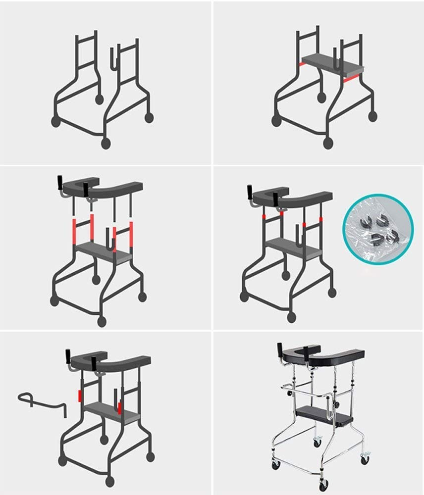 Aluminum Alloy Folding Walker with Armrest Pad and Wheel Limited Movement Aid for Elderly Disabled Persons with Standard Walker Auxiliary Walking Safety Walker by YL WALKER (Image #5)