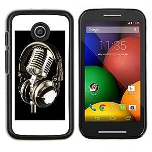 LECELL--Funda protectora / Cubierta / Piel For Motorola Moto E -- Micrófono de la vendimia Micrófono --