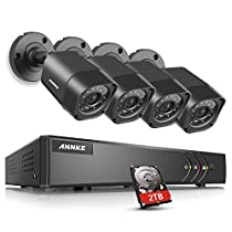 ANNKE Security Camera System 5-in-1 16CH 720P DVR with (4) 720P HD Weatherproof Indoor/Outdoor Cameras with IR-cut Night Vision LEDs, Free APP, Remote Access, 2TB HDD Included