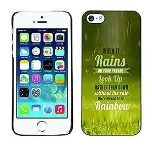 ROKK CASES / Apple Iphone 5 / 5S / WHEN IT RAINS - TYPOGRAPHY / Slim Black Plastic Case Cover Shell Armor