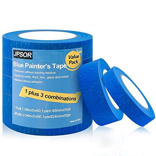 JPSOR 4 Pack Blue Painters Tape, 0.94