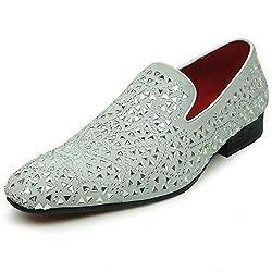 Rhinestones Over White Suede Slip on Loafer