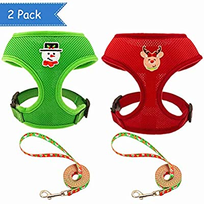 SCENEREAL Christmas Dog Harness Vest with Leash Set 2 Packs - Adjustable Soft Mesh Harnesses Snowman Elk Pattern Label Green Red