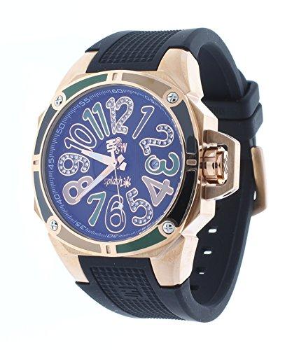 Technosport TS-200-SPLASH8 Womens Black Watch Swarovski Multicolor Colorful Dial Markers Rose-Tone Case