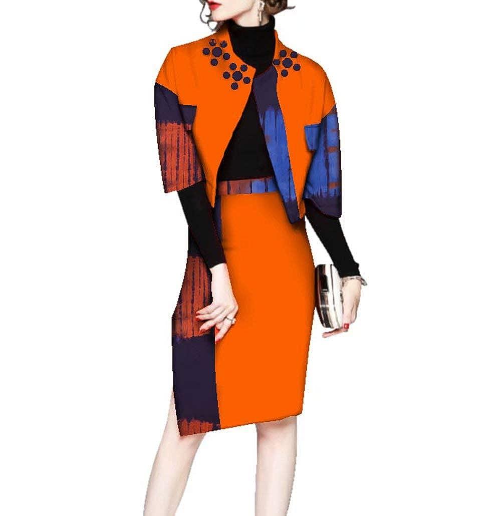 24fs1249 Womens Ankara Suit Sets Half Sleeve African Print Outerwear & Skirt Sets