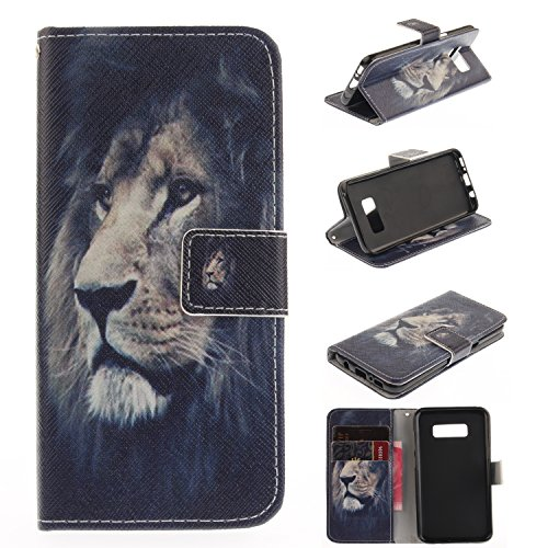 [Galaxy S8+ Case, For [S8 Plus], MerKuyom [Kickstand] Premium PU Leather Wallet Pouch Protective Flip Stand Cover Skin Case For Samsung Galaxy S8 Plus / S8+, W/ Stylus (Cool Lion Pattern)] (Raindrop Pattern Protective Case)