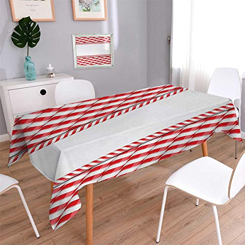 Candy Cane Rectangle Customized Tablecloth Horizontal Border