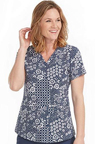 Shirttail Scrub - Med Couture Women's V-Neck Shirttail Serena Print Scrub Top, Easy Navy, Medium