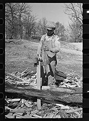 Photo: Splitting Shingles, Froe, Maul, Coalins Project, Farm, Kentucky, KY, FSA, 1936, Mydans, 2 . S