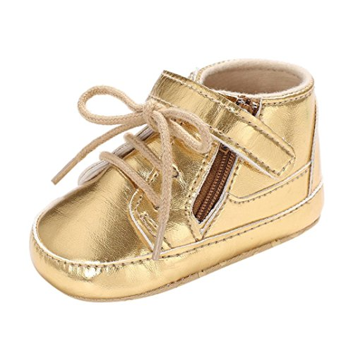 (Voberry Toddler Baby Boy's Leather Sneaker Shoes Lace up Snow Boots Warm (0~6Month, Gold))