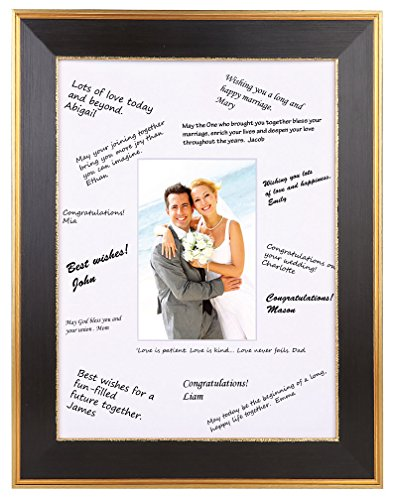 Space Art Deco 11x14 Classic Gold Design Black Frame - White Mat for Wedding Signatures - For 5x7 Inch Pictures - Easel Stand for Table Top - Sawtooth Hanger - Wall Mount - Glass (11x14) ()