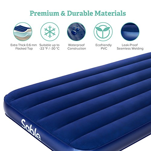 Sable Air Mattress, Inflatable AirBed Blow up Bed for Guest Car Tent Camping Hiking Backpacking with Storage Bag-Height 8″, Twin Size, Blue