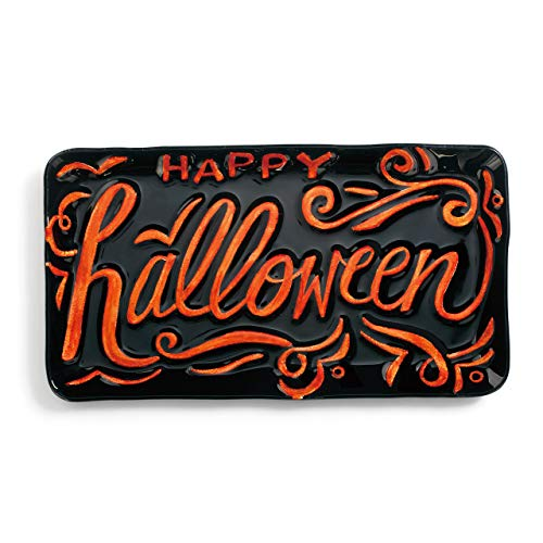 Happy Halloween Pumpkin Orange and Black 15 x 8 Glass Rectangular Platter -
