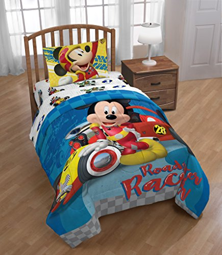 Jay Franco Disney Mickey Mouse Club House Racers Twin Comforter - Super Soft Kids Reversible Bedding Features Mickey Mouse - Fade Resistant Polyester Microfiber Fill (Official Disney Product)